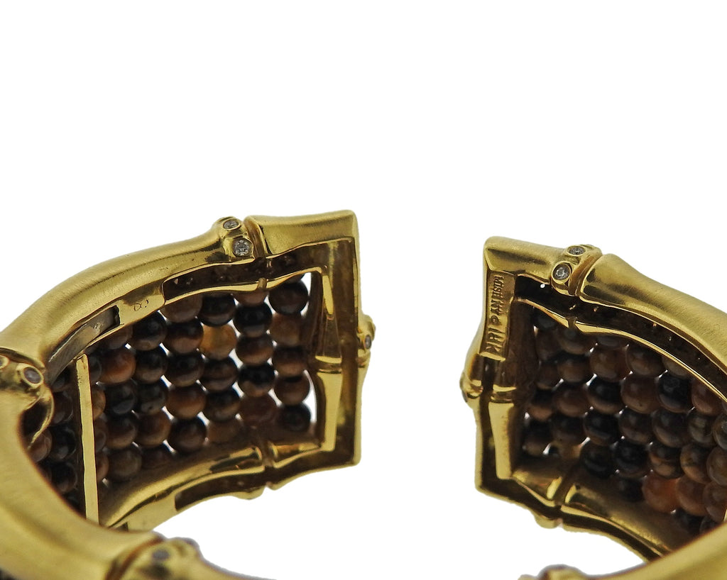 thumbnail image of Mish New York Tiger's Eye Diamond Gold Bracelet