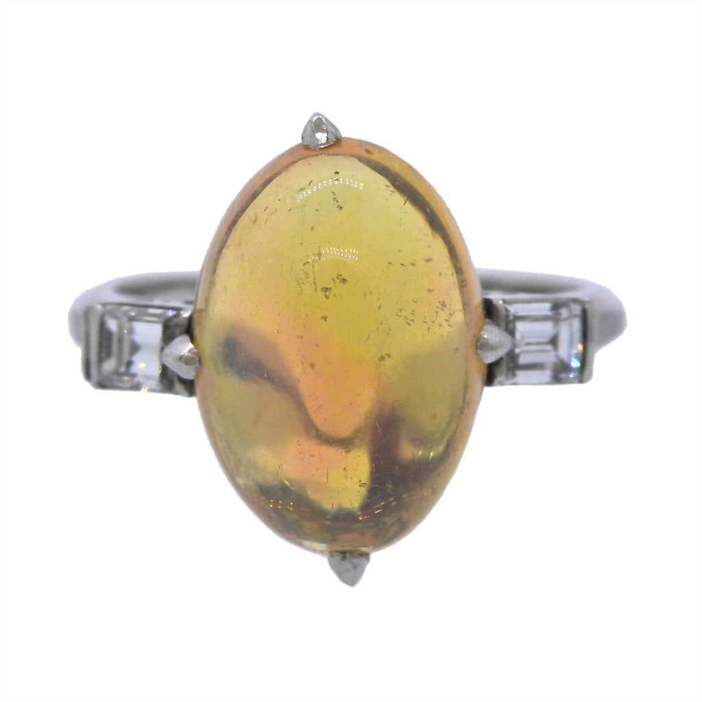 thumbnail image of Fire Opal Diamond Platinum Ring
