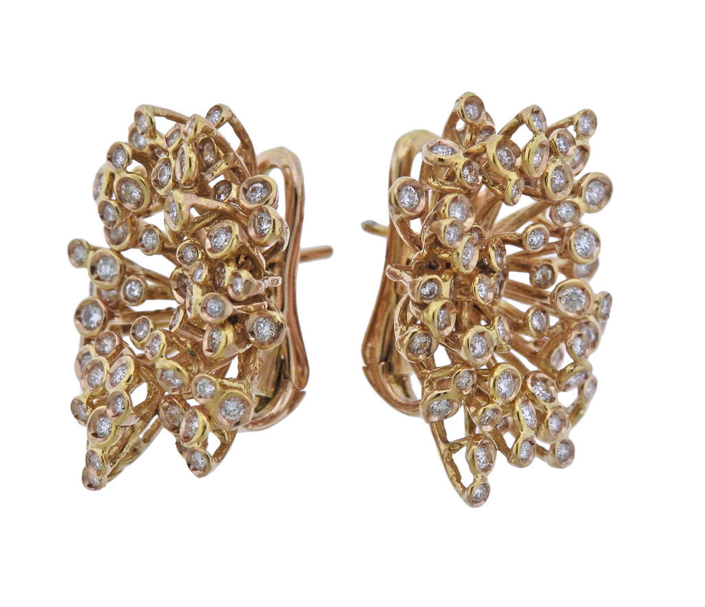 thumbnail image of Vintage Abstract Diamond Gold Earrings