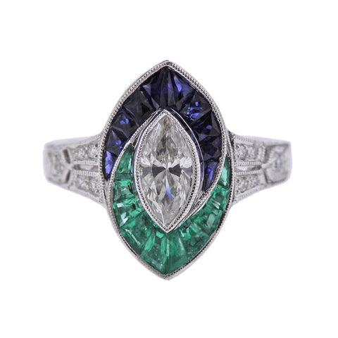 image of Marquise Diamond Sapphire Emerald Gold Engagement Ring