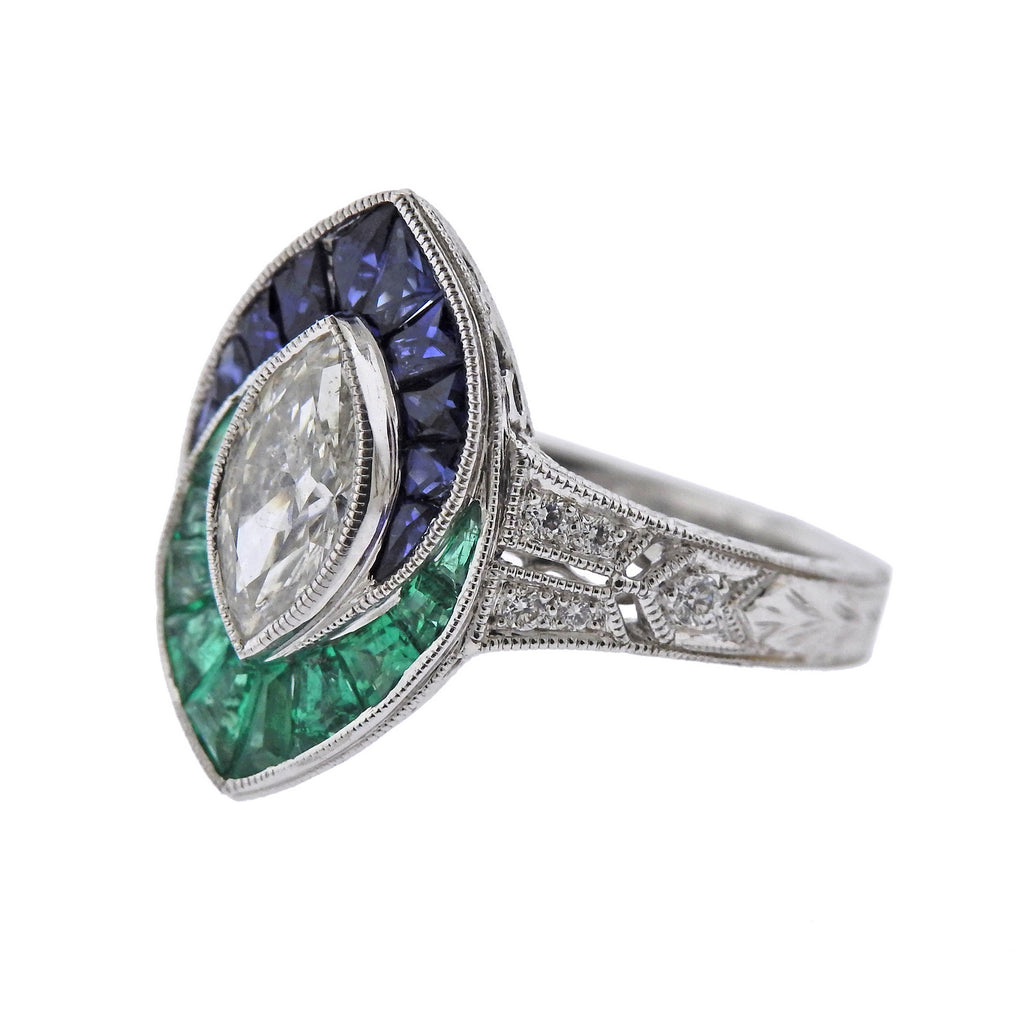 thumbnail image of Marquise Diamond Sapphire Emerald Gold Engagement Ring
