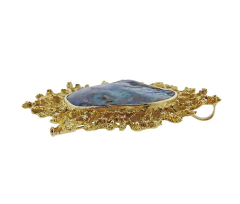 image of 1970s Opal Diamond Gold Brooch Pendant
