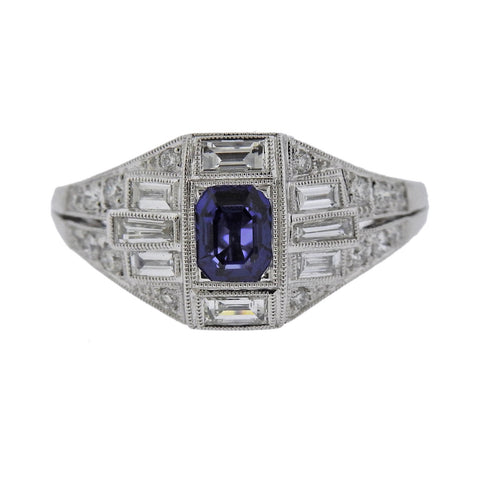 image of Sapphire Diamond Gold Engagement Ring
