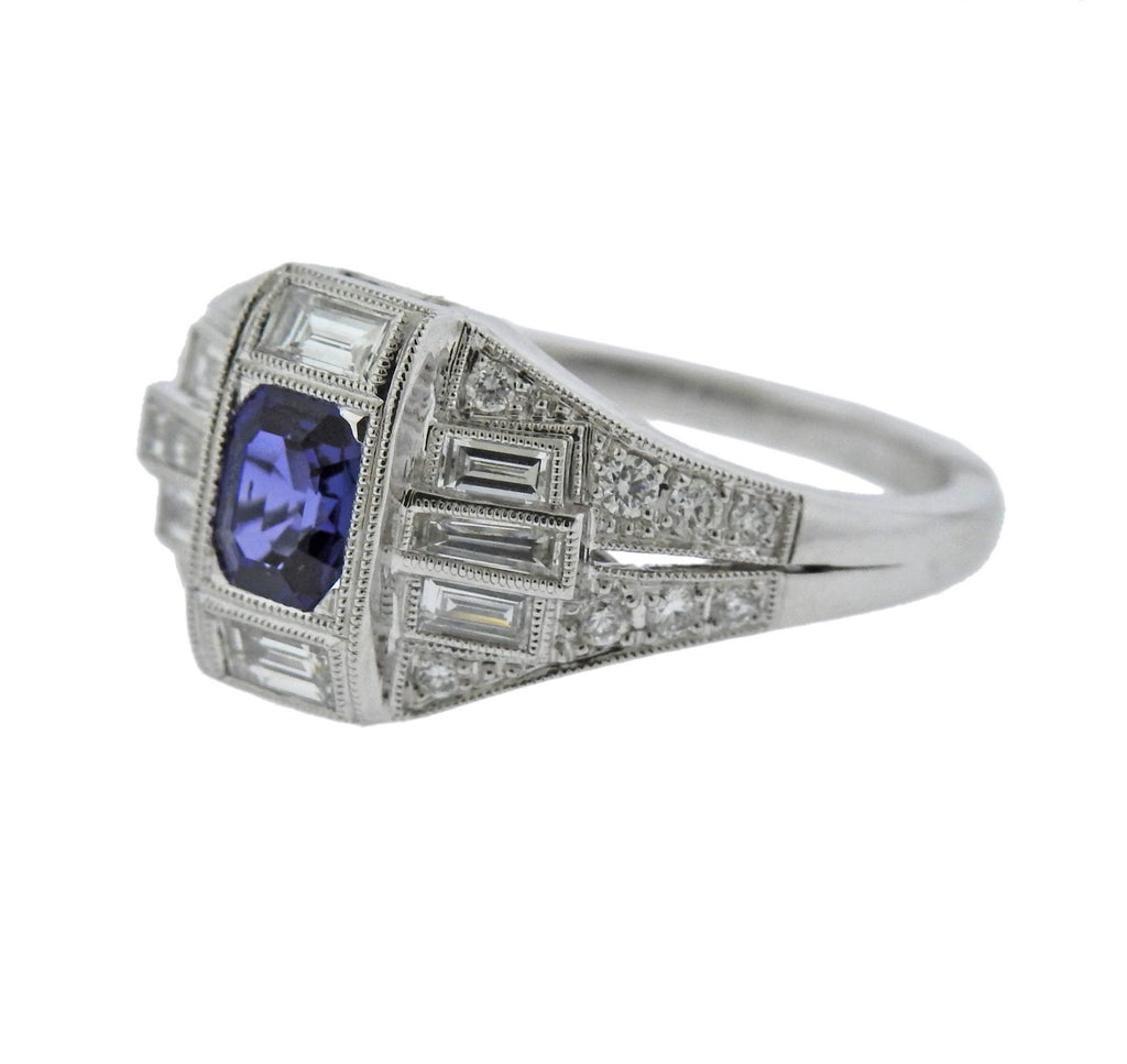 thumbnail image of Sapphire Diamond Gold Engagement Ring