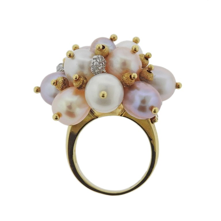 thumbnail image of Zoccai Pearl Diamond Gold Cocktail Ring