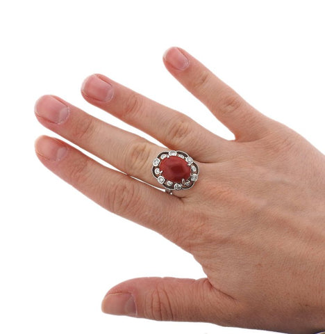 image of Red Coral Cabochon Diamond Platinum Ring