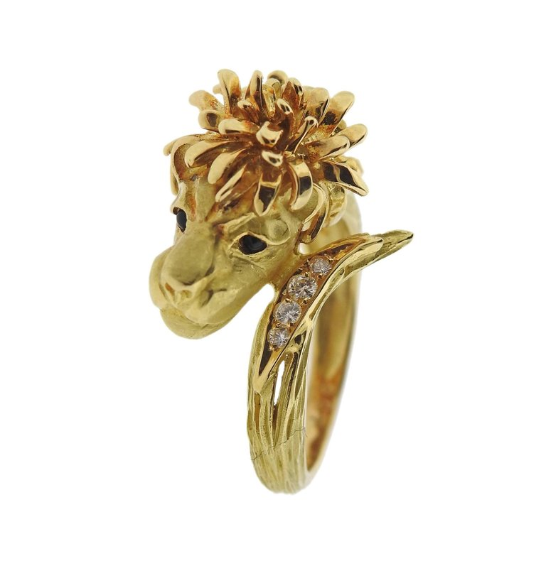 thumbnail image of J. P. Bellin Diamond Gold Lion Ring