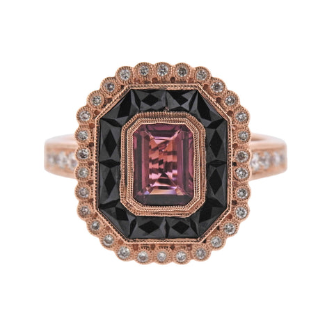 image of Rose Gold Onyx Diamond Tourmaline Ring