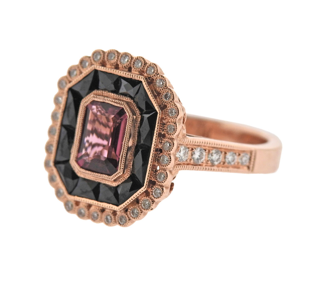 thumbnail image of Rose Gold Onyx Diamond Tourmaline Ring