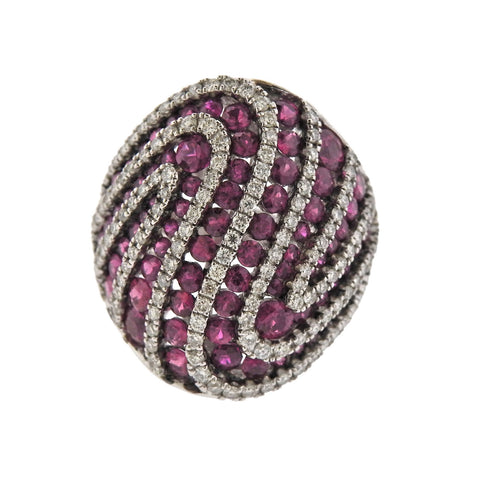 image of Diamond Ruby Gold Dome Ring
