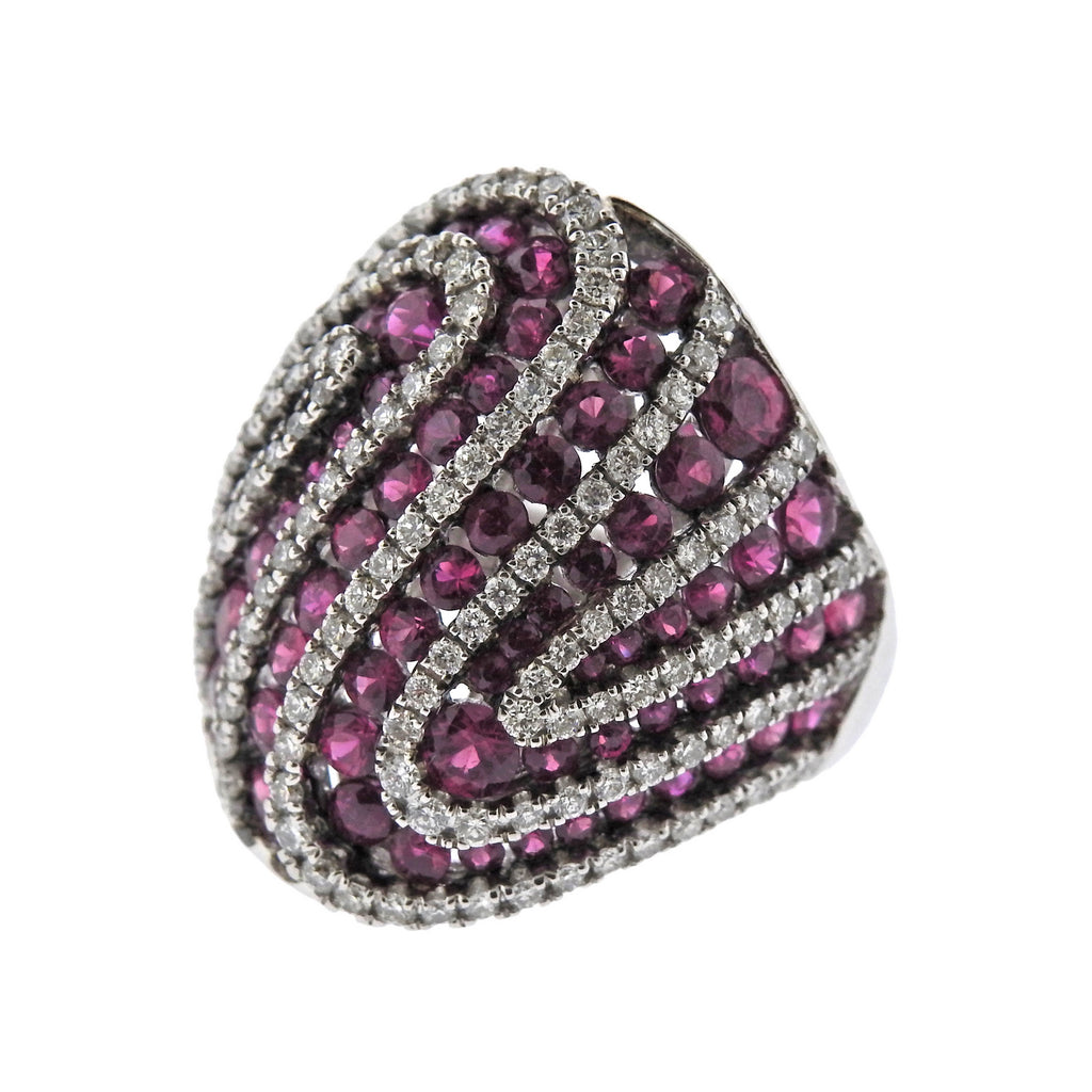 thumbnail image of Diamond Ruby Gold Dome Ring