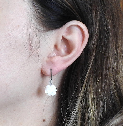 image of Chanel Camelia Agate Diamond Gold Earrings
