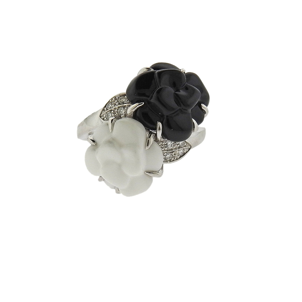 thumbnail image of Chanel Camelia Agate Diamond Gold Ring