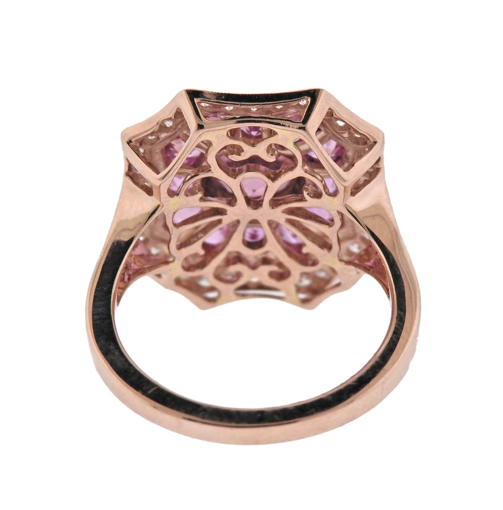 thumbnail image of Rose Gold Pink Sapphire Diamond Cocktail Ring