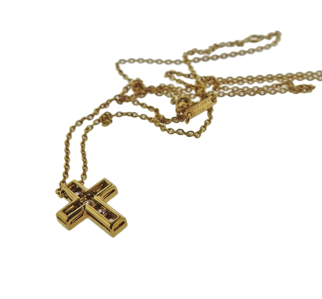 thumbnail image of Van Cleef & Arpels Diamond Gold Cross Necklace