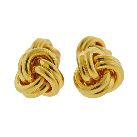 image of Tiffany & Co Gold Double Sided Knot Cufflinks