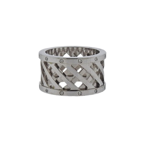 image of Hermes Diamond Gold Wide Band Ring