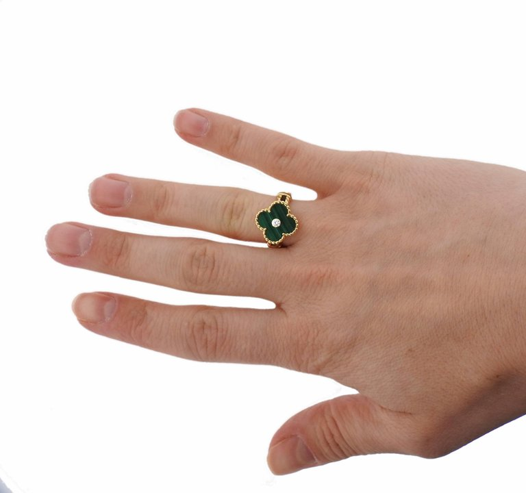 thumbnail image of Van Cleef & Arpels Vintage Alhambra Malachite Diamond Gold Ring