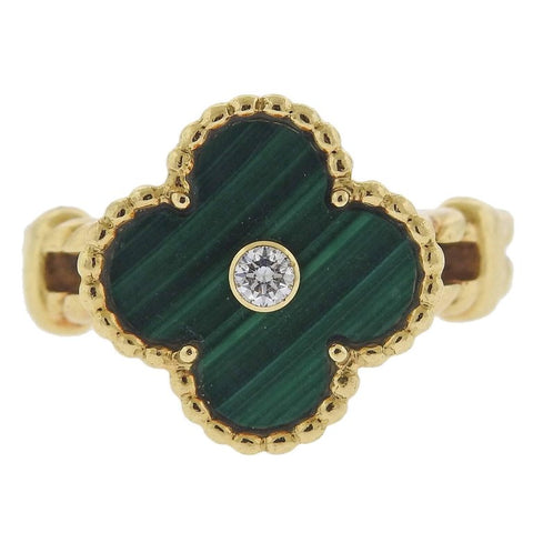 image of Van Cleef & Arpels Vintage Alhambra Malachite Diamond Gold Ring