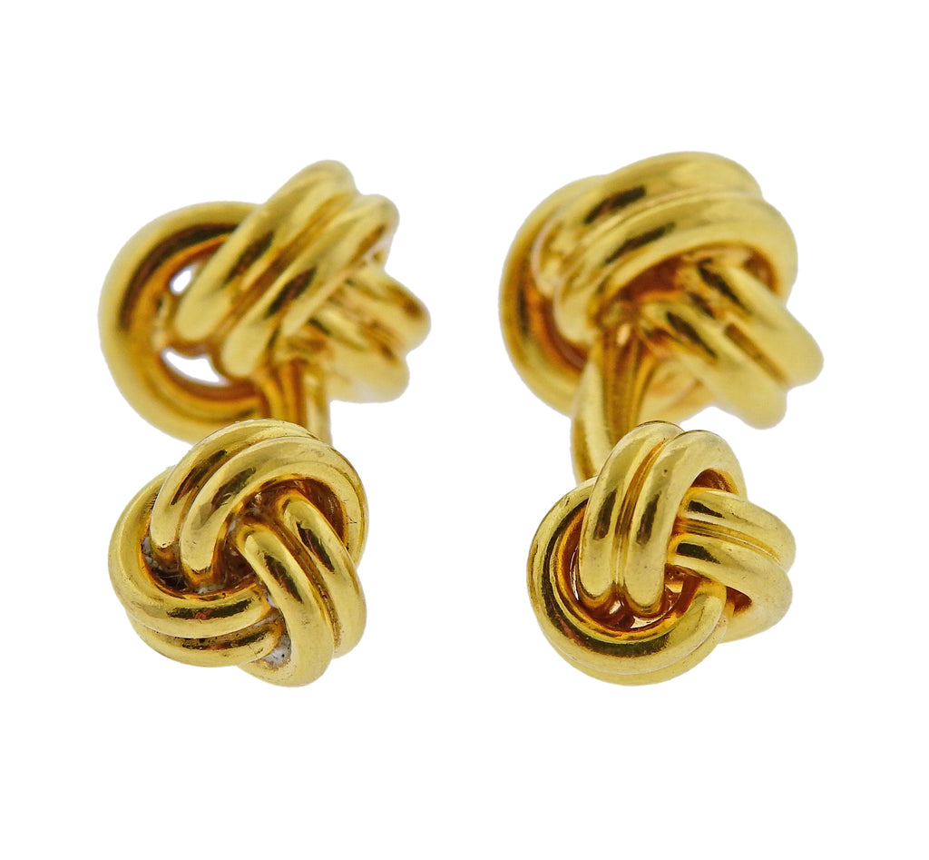 thumbnail image of Tiffany & Co Gold Double Sided Knot Cufflinks