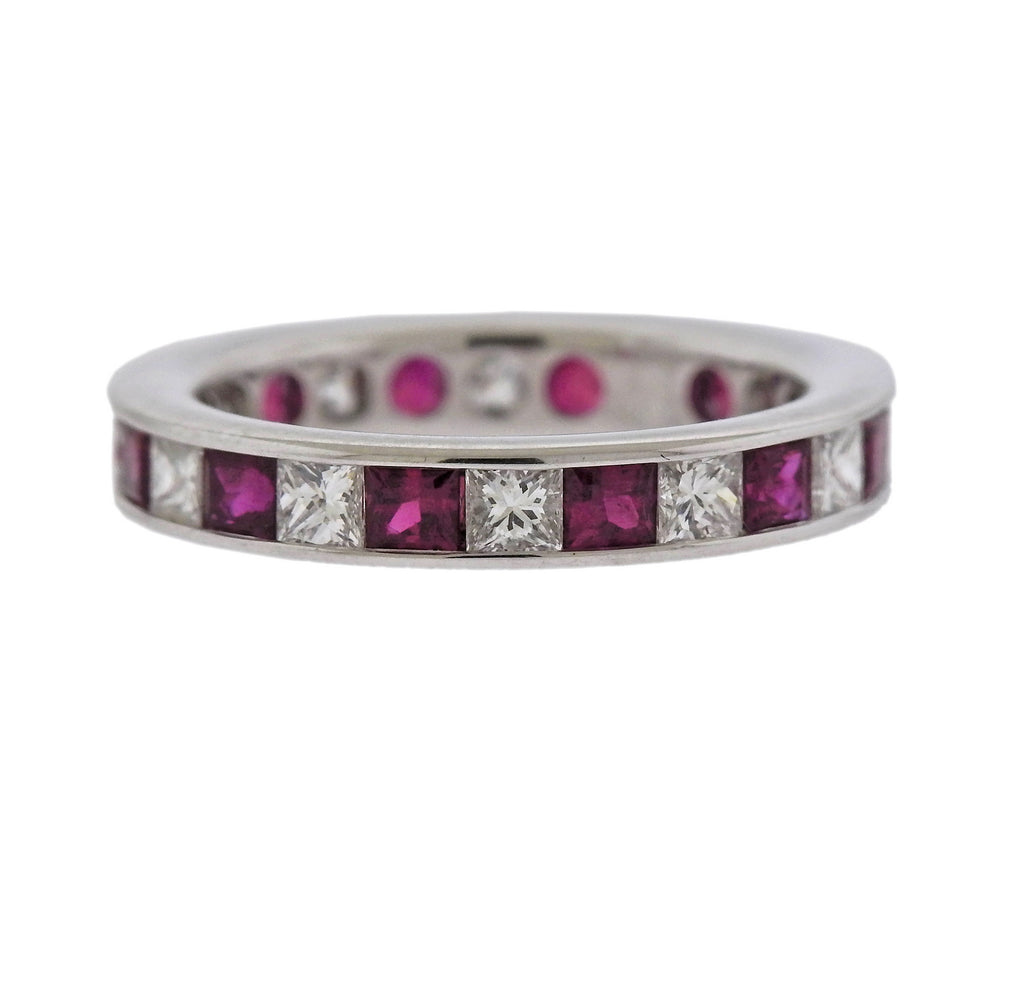thumbnail image of Ruby Diamond Gold Wedding Band Ring
