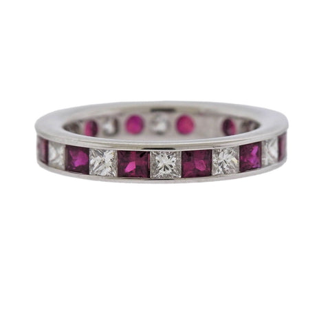 image of Ruby Diamond Gold Wedding Band Ring