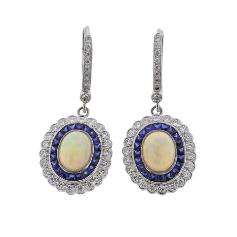 image of Opal Diamond Sapphire Gold Earrings
