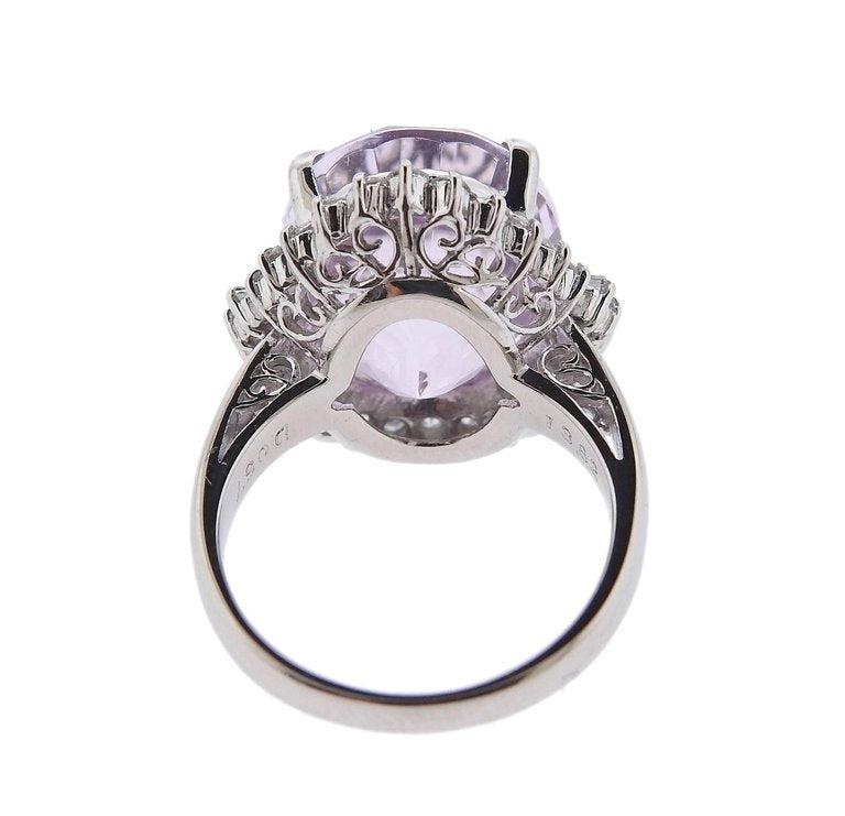 thumbnail image of Kunzite Diamond Platinum Ring