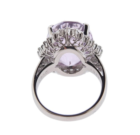 image of Kunzite Diamond Platinum Ring