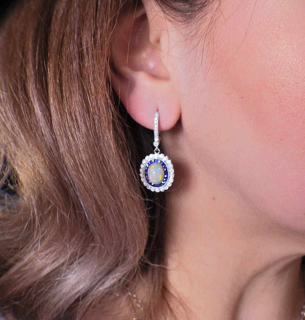 thumbnail image of Opal Diamond Sapphire Gold Earrings