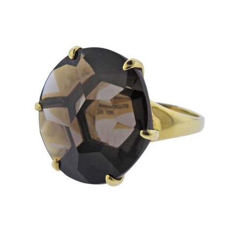 image of Ippolita Gemma Smokey Quartz 18k Gold Ring