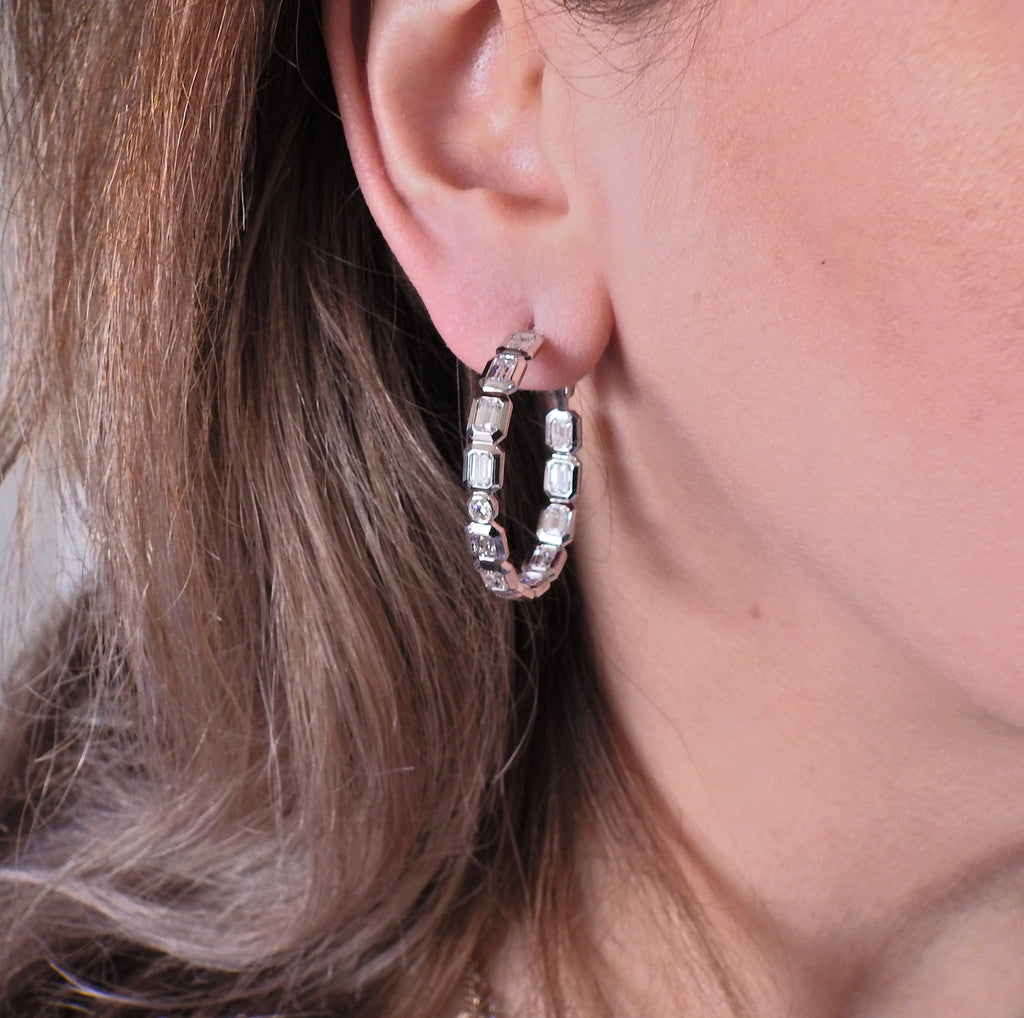 thumbnail image of 8 Carat Diamond Gold Hoop Earrings