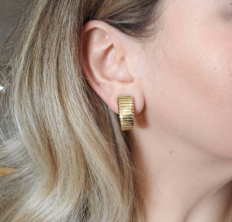 thumbnail image of Bulgari Tubogas Gold Half Hoop Earrings