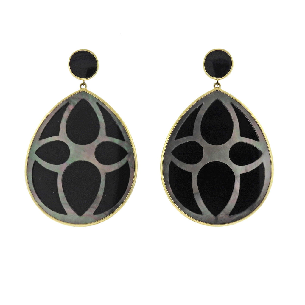 thumbnail image of Ippolita Rock Candy Black Shell Onyx 18k Gold Teardrop Earrings