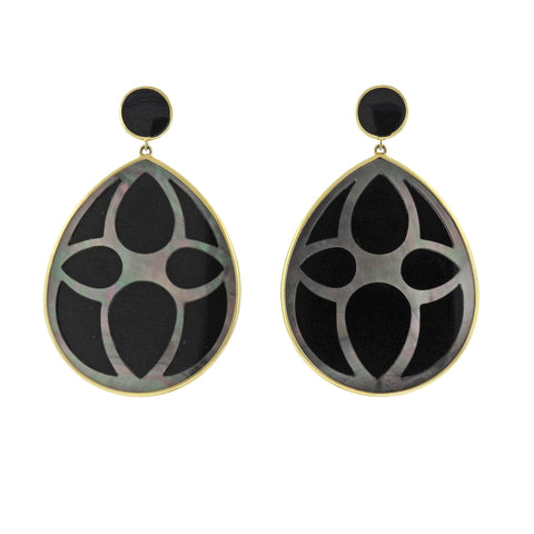 image of Ippolita Rock Candy Black Shell Onyx 18k Gold Teardrop Earrings