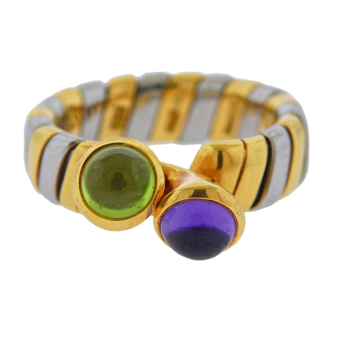 image of Bulgari Tubogas Gold Steel Amethyst Peridot Ring