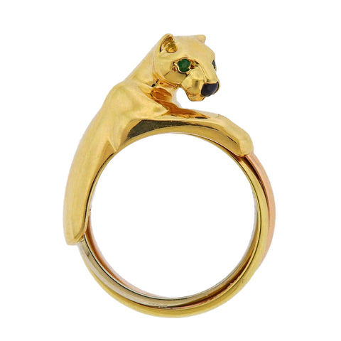 image of Cartier Panthere Trinity Gold Emerald Ring