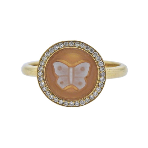 image of Ippolita Butterfly Cameo Diamond 18k Gold Ring