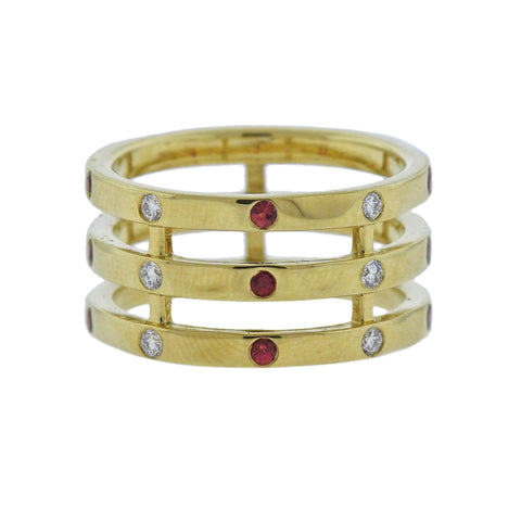 image of Ippolita Glamazon Stardust Triple Band Sapphire Diamond 18k Gold Ring