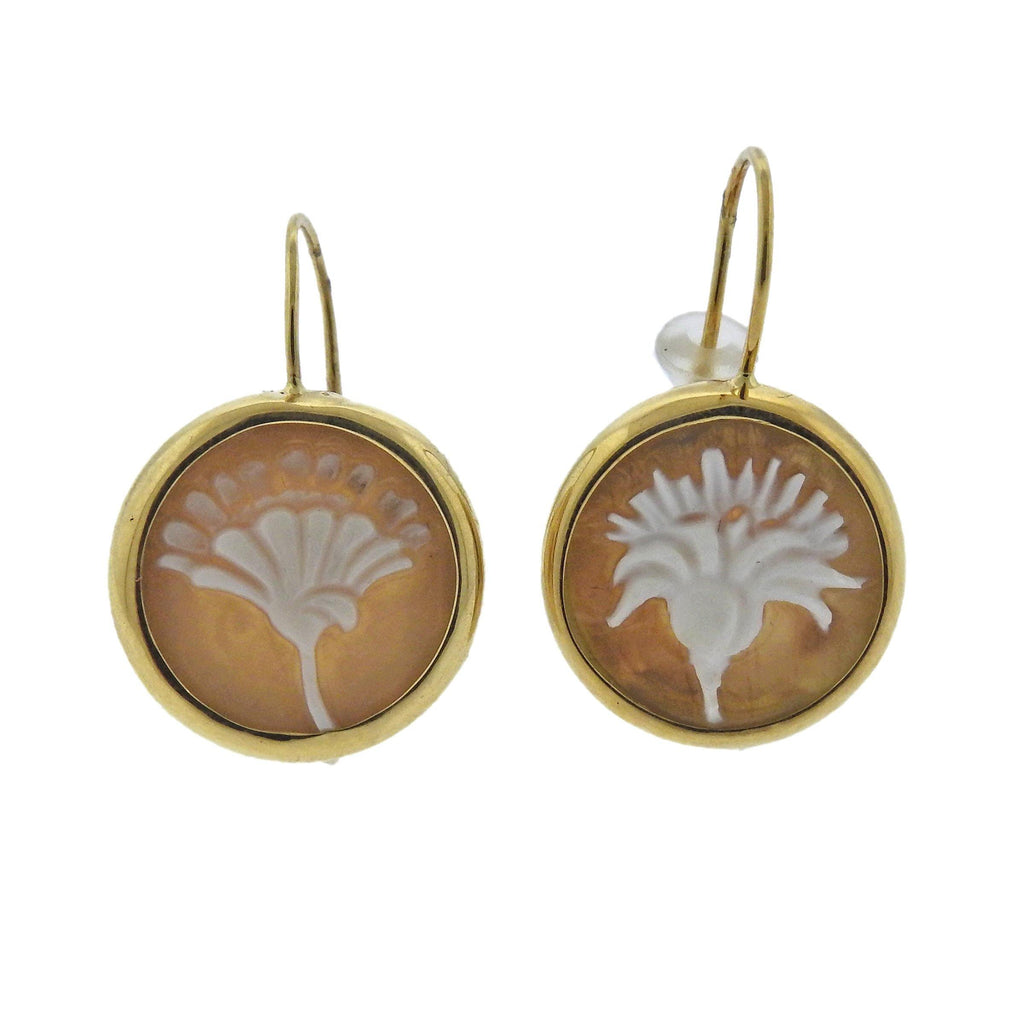 thumbnail image of Ippolita Flower Cameo Quartz 18k Gold Earrings