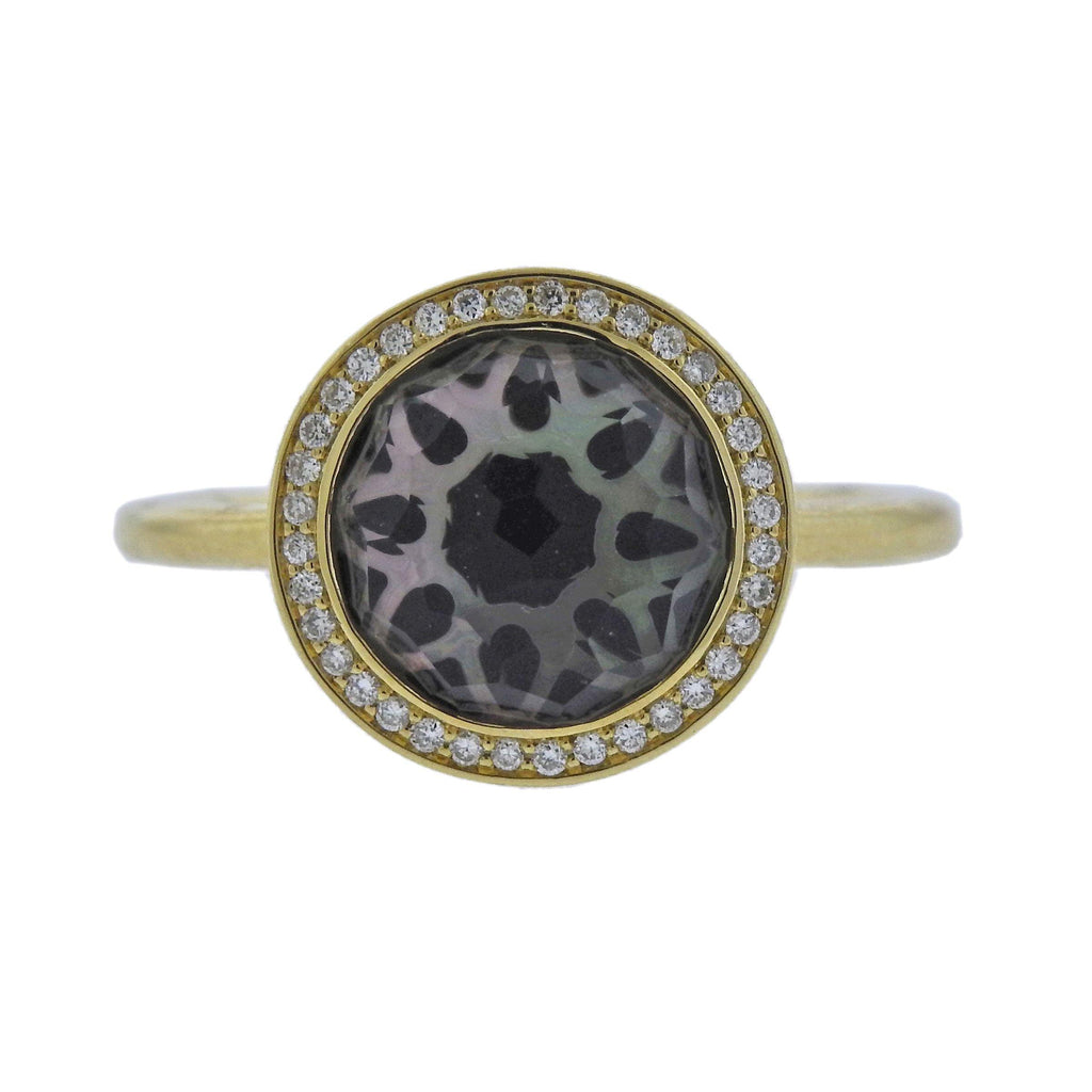 thumbnail image of Ippolita Rock Candy Onyx Diamond Crystal Shell 18k Gold Ring