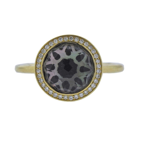 image of Ippolita Rock Candy Onyx Diamond Crystal Shell 18k Gold Ring