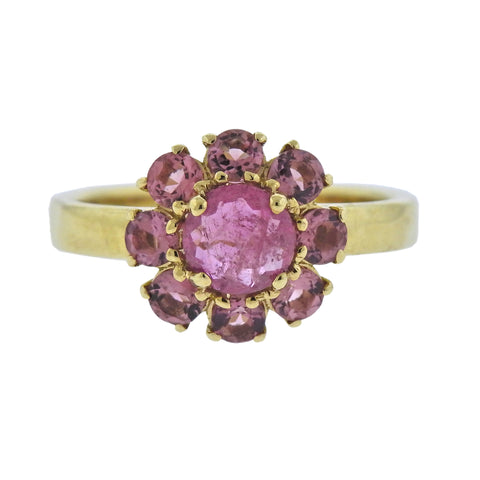image of Ippolita Lollipop Mini Flower Pink Tourmaline Rhodolite 18k Gold Ring