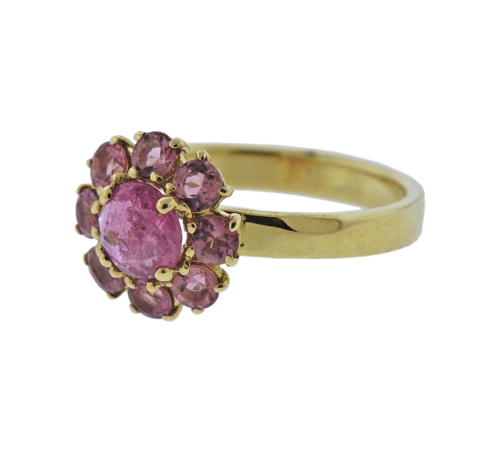 thumbnail image of Ippolita Lollipop Mini Flower Pink Tourmaline Rhodolite 18k Gold Ring