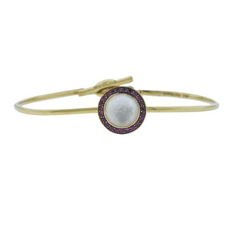 image of Ippolita Lollipop Toglette Ruby Mother of Pearl 18k Gold Bracelet
