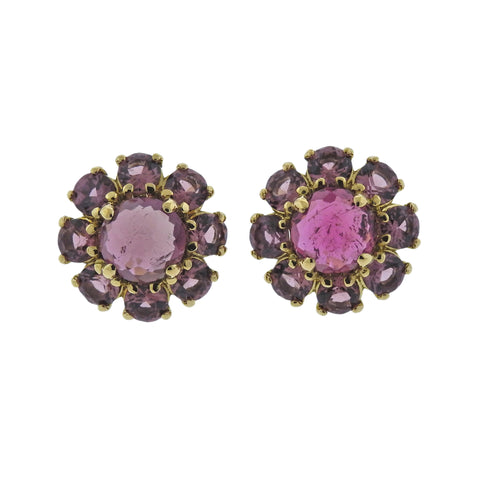 image of Ippolita Lollipop Mini Flower Tourmaline Rhodolite 18k Gold Earrings