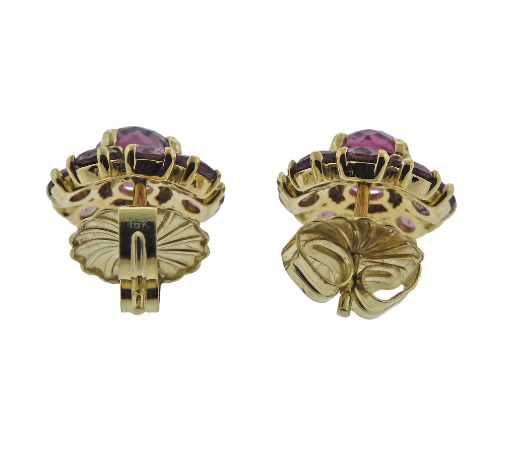 thumbnail image of Ippolita Lollipop Mini Flower Tourmaline Rhodolite 18k Gold Earrings