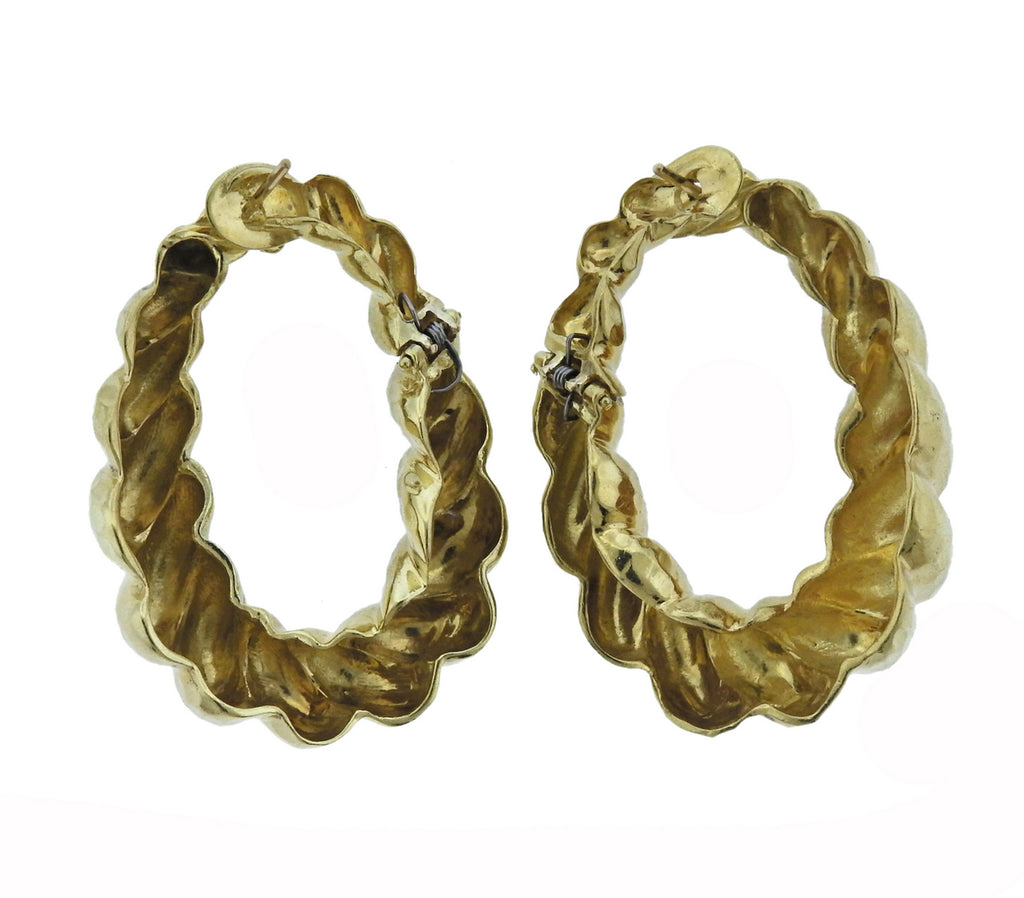 thumbnail image of 1970s Hammered Gold Twist Hoop Earrings