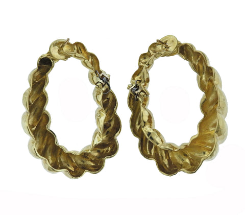 image of 1970s Hammered Gold Twist Hoop Earrings