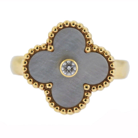 image of Van Cleef & Arpels Vintage Alhambra Mother of Pearl Diamond Gold Ring